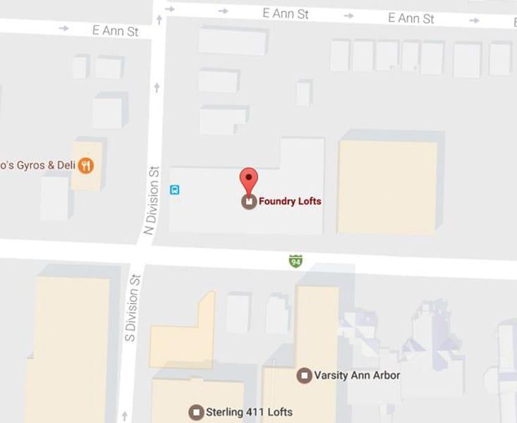 Map of Foundry Lofts Ann Arbor